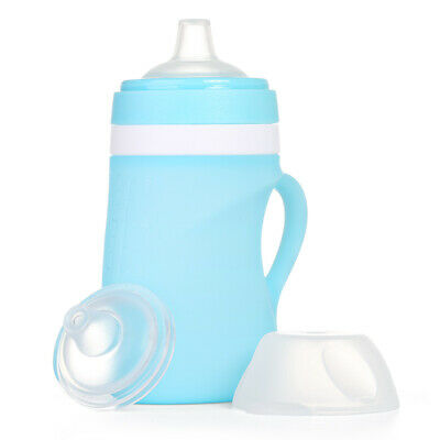 Silicone Baby Bottles With Handles | 5 Ounces | Blue | Microwave Dishwasher safe