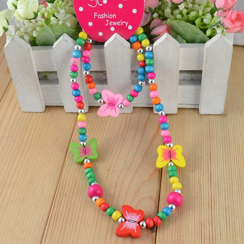 Children Jewelry Girl ButterFly Wood Beaded Necklace Bracelet Set Gift Xmas