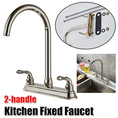 Double Handle Kitchen Faucet Pull Out Spray Sink Single Hole Mixer Tap USA Double Handle Kitchen Tap