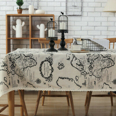 Map Table Cover High Quality Black and White Tablecloth Home Textiles Supplies