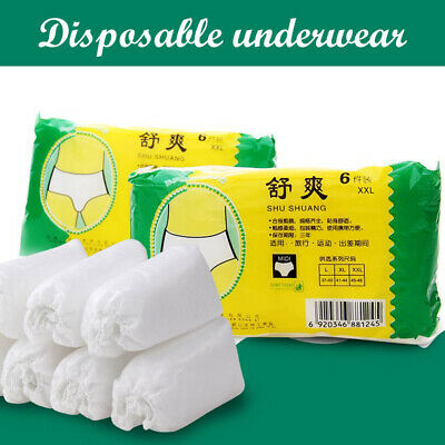 6Pcs Disposable Non Woven Paper Brief Panties Unisex Travel Underwear Panties US