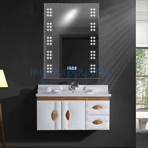 Bathroom 60 Leds Mirror Light Fog Demister Clock With Toothbrush Shaver Socket