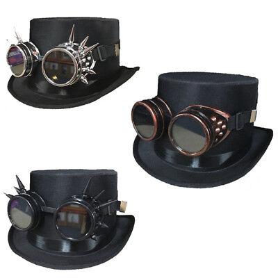 sch Hut Cosplay Gothic Retro Brille Spike SCHWARZER Zylinder (Viktorianischer Hut)