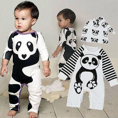 Newborn Infant Baby Kids Boy Girl Panda Romper Jumpsuit Bodysuit Outfits Clothes