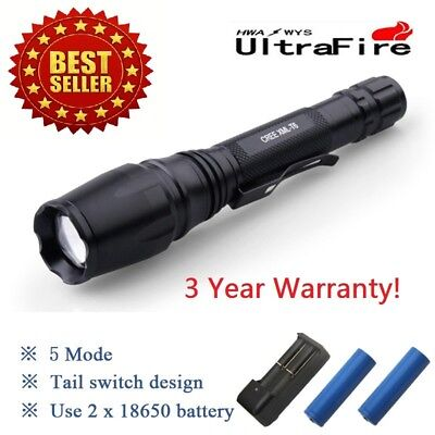 90000LM LED Flashlight Rechargeable Zoomable Torch 18650 Battery Dual Charger!