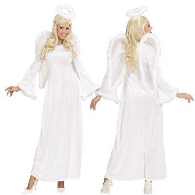 DELUXE ENGEL KOSTÜM Samt mit Flügel und Heiligenschein Gr. S (34/36) Damen Kleid ()