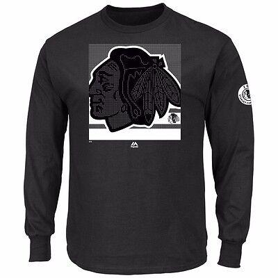 CHICAGO BLACKHAWKS Longsleeve Langarm Slashing schwarz black (Chicago Blackhawks Eishockey)