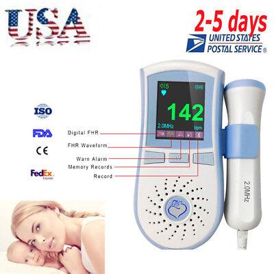 Hot Lcd Display Pocket Fetal Doppler Prenatal Baby Heart Monitor 3mhz Probe Usa