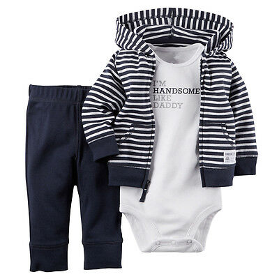 Carters Infant Baby Boy Romper Bodysuit + Pants Coat 3PCS Outfit Clothes Set
