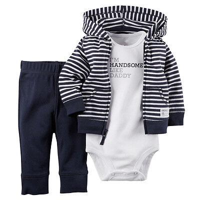 3pcs Infant Baby Boy Winter Coat+Romper+Pants Outfits Toddler Warm Clothes Set Baby Boy Winter Coats