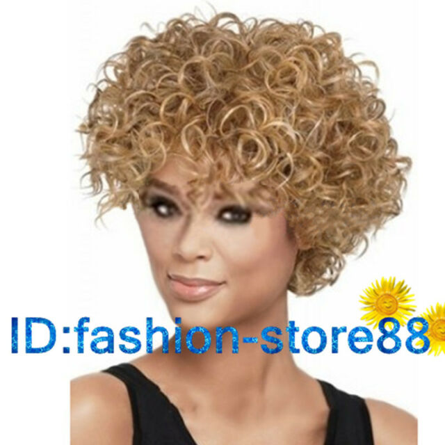 2016 New Ladies Women's fashion Curly mixed blonde Natural Hair Wigs + wig cap