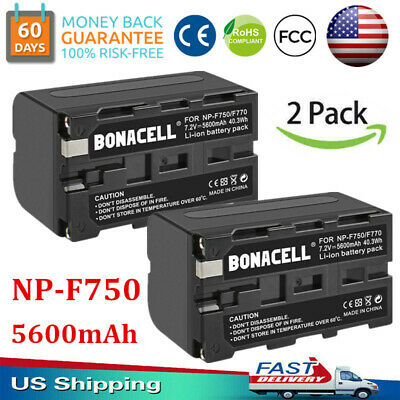 2x 5600mAh NP-F750 Battery for Sony NP-F770 CCD-SC CCD-TR CCD-TRV DCR-VX Series