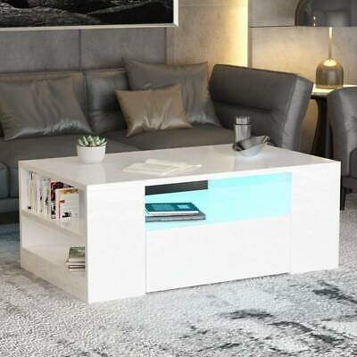 Modern High Gloss Coffee Table with 1/2 Drawers Living Room Furniture Free LED