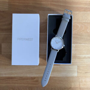 "Piperwest Ladies Watch-""Classic Minimalist"" in Grey/Silver/White"
