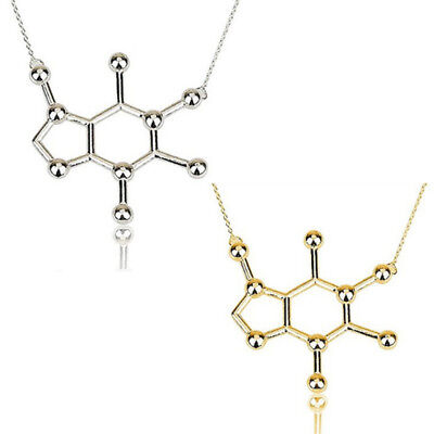 Caffeine Molecule Geometric Polygon Pendant Necklace Women Party Jewelry Gift