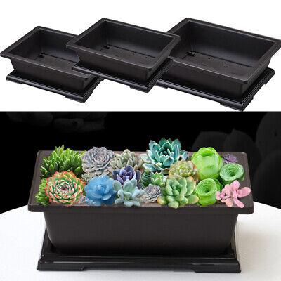 Plastic Flower Balcony Basin Home Rectangle Bonsai Plant Bowl Nursery Pot Black ()
