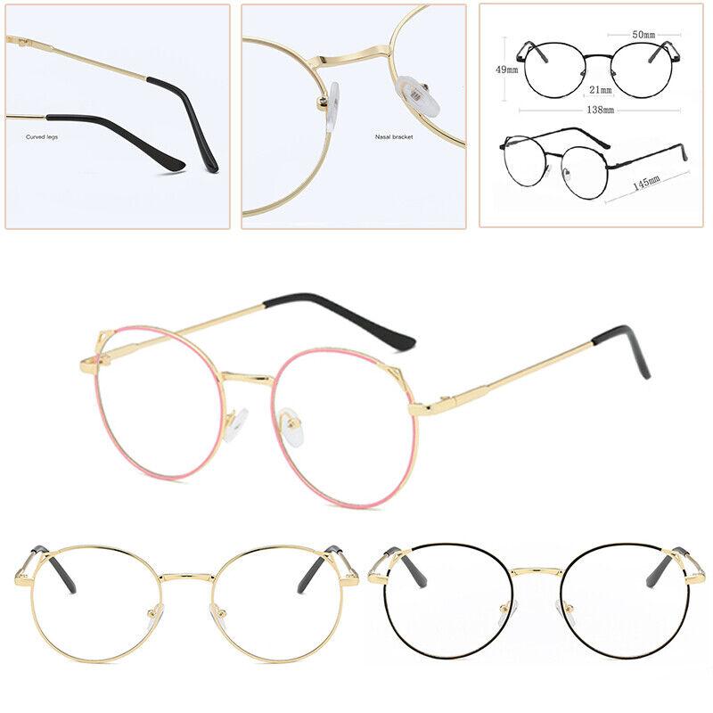 Frauen Männer Retro Runde Katze Ohr Brille Brillen Plain Len Spectacles 3Farben*