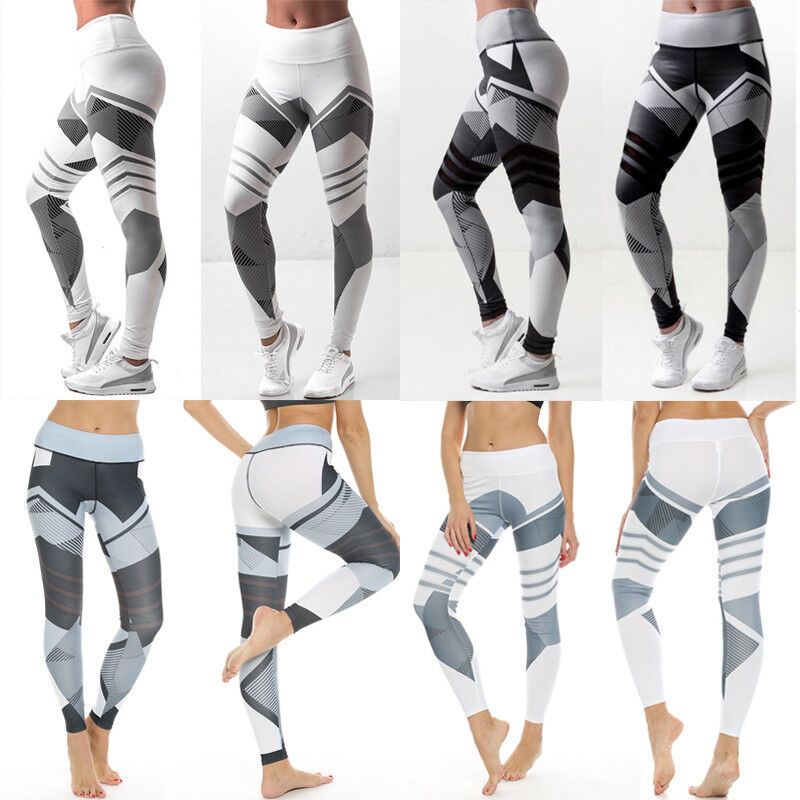 Damen Leggins Leggings Yogahose Stoffhose Sporthose Jogginghose mit Mustern FMF