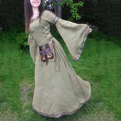 Prinzessin Renaissance Kostüm (Vintage Damen Mittelalter Cosplay Kostüm Kleid Prinzessin Renaissance Gothik)