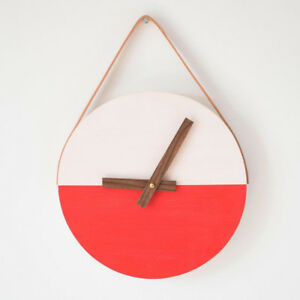 Handmade Wooden Clock with Leather Strap