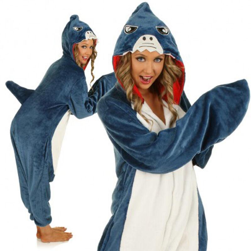 b663a50747 Details about Kigurumi Shark Anime Cosplay Pyjamas Costume Hoodies Adult  Onesi1 Fancy Dress
