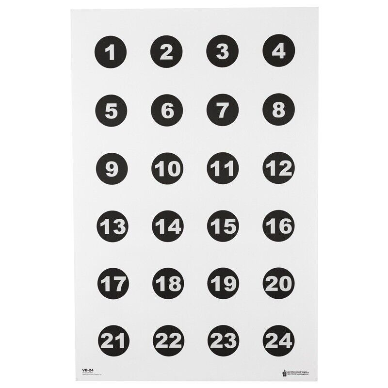 "Action Target Command Training Target 3"" Numbered Circles 23"" x 35"" 100 Per Box"