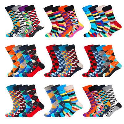 Fancy Dress Pairs (5 Pairs Mens Cotton Socks Chromatic Stripe Grid Fancy Casual Dress Socks)