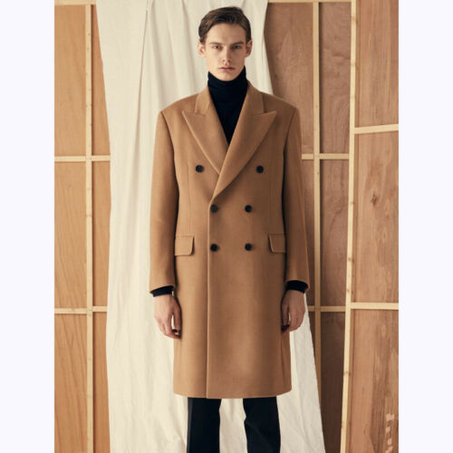 Korean Mens Wool Blend Trench Coat Double Breasted Faux Fur Lapel Winer Jackets