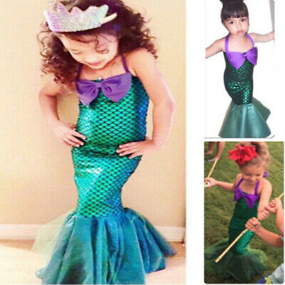 Kids Ariel Little Mermaid Set Girl Princess Dress Party Cosplay Costume Clothing - Wear Costumes