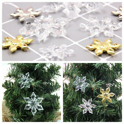 10Pcs Acrylic Snowflake Pendant Hanging Ornaments Craft Christmas Tree DIY Decor (Hanging Snowflake Decorations)