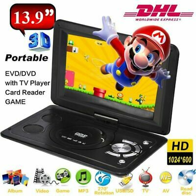 "13.9"" Tragbarer Auto DVD Player USB Portable analog TV LCD Display CD Game SD FM Lcd-dvd"