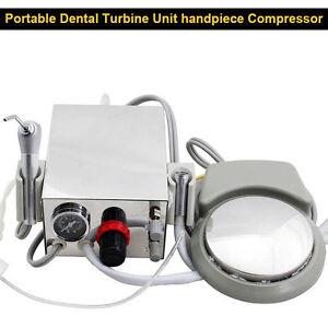 New Portable Dental Turbine Unit handpiece Compressor 4-Hole 3 way syringe BEST