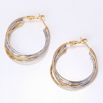 New 14K Yellow & White Gold Filled 2-Tone Textured Twisted Round Hoop Earrings~ 2 Gold Hoop Earrings