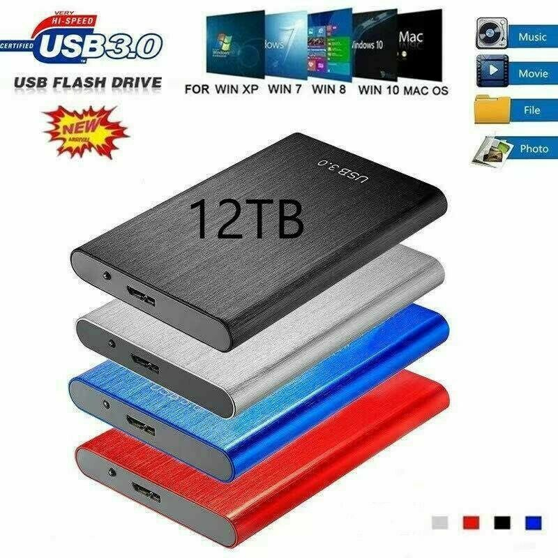 """USB 3.0 External SSD Solid State Drives 12TB 2.5"""" Portable Mobile Hard Drive"""