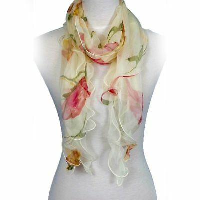 Layer Scarf - Fashion Double Layer 100% Silk Floral Ruffle Summer Silk Women Scarf, Beige/Red