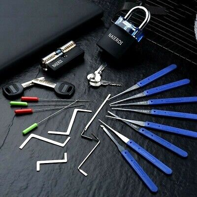 Locksmith Tools Set Practice Lock Pick Transparent Broken Key Removing Hooks
