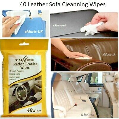 40 LEATHER SOFA CLEANING WIPES CAR LEATHER SOFA CHAIR SEAT CLEANER WET WIPES NEW