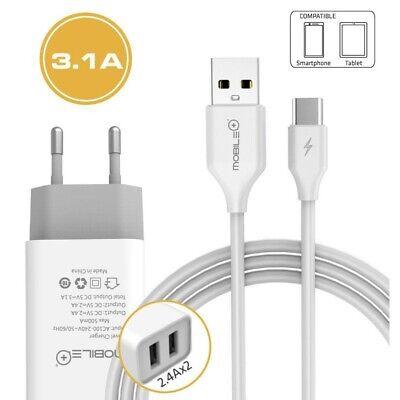 Cargador rapido de doble puerto USB y cable Tipo-C a USB. MOBILE+...