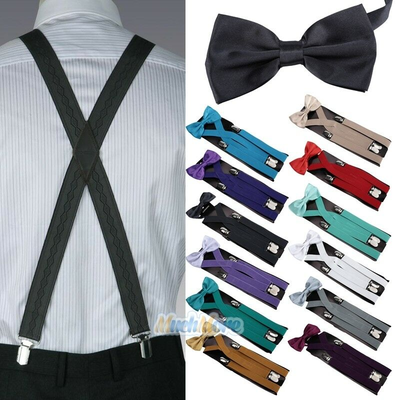 New Men Suspenders X-back 4 Clips Braces Adjustable Clip-on Belt+bow Tie Necktie