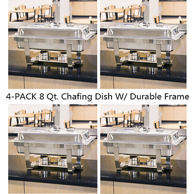 - 4 Packs Chafing Dish 8 Quart Stainless Steel Rectangular Chafer Full Size Buffet