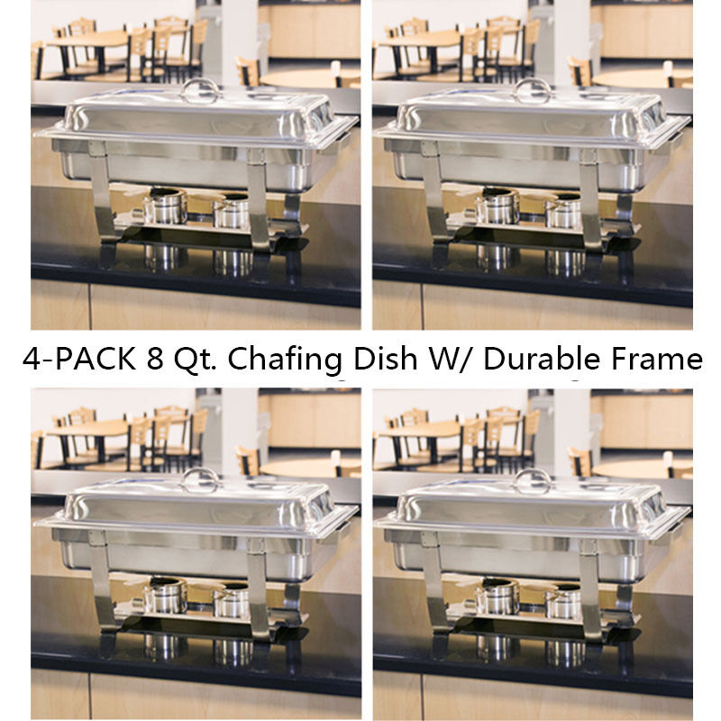 4Pack 8 Quart Stainless Steel Rectangular Chafing Dish Full Size Buffet Catering
