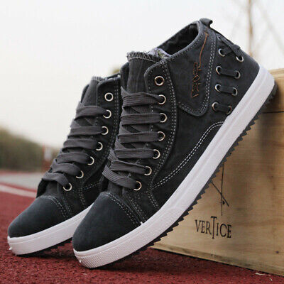 US Men's High Top Sneakers Canvas Shoes Casual Breathable Driving Walking -