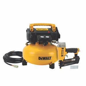 DEWALT 6 Gallon 165 PSI Compressor & Brad Nailer WITH 25 Ft Hose