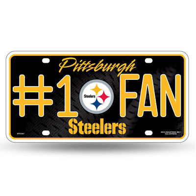 1 Fan Sign (Pittsburgh Steelers #1 Fan Metal License Plate Tag Wall Sign FAST USA SHIPPING )