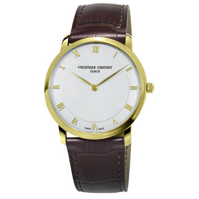 NEW Frederique Constant Slim Line 39mm Leather Strap Men's Watch FC-200RS5S35