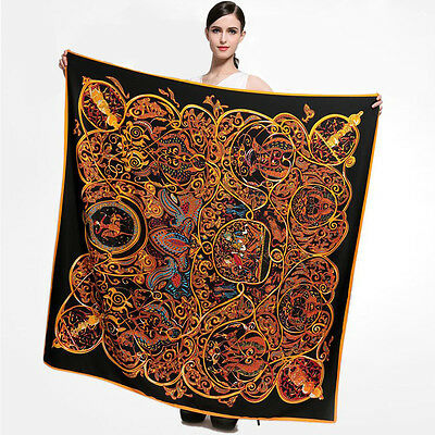 Black&Gold Silk Square Head Scarves Women's Fashion Print Shawl Scarf NEW 51""