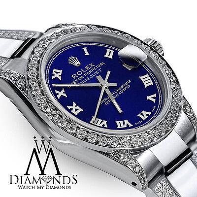 Ladies 31mm Rolex SS Oyster Perpetual Datejust Custom Diamonds Tone Blue Roman