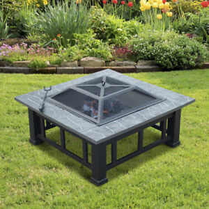 BEAUTIFUL NEW LARGE SQUARE OUTDOOR WOOD FIRE PIT