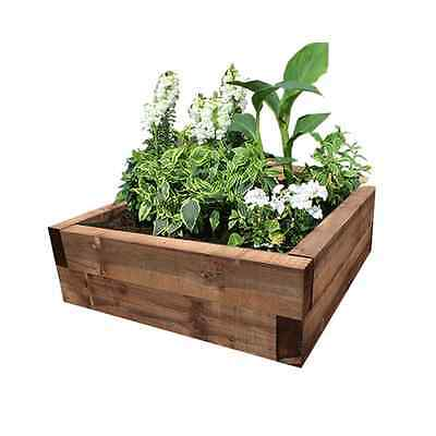 Brown Eco-Treated Softwood Raised Bed Kit - Made From Sleepers - Garden Planter