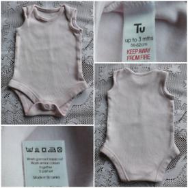 TU PINK 0-3MTHS BABY'S BODYSUIT/VEST